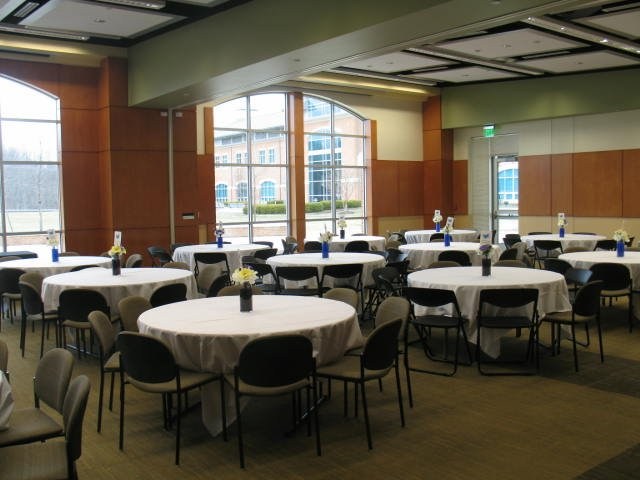 Large conference room with tables and chairs on the Prince Frederick Campus