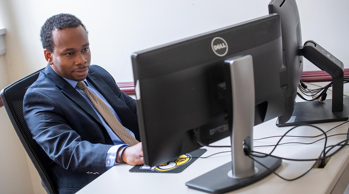 Businessman works at a computer