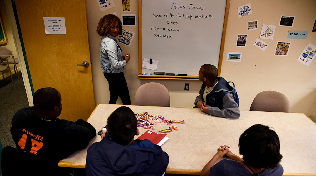 disability support coordinator leads a workshop with students