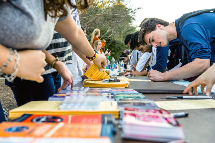 Students sign up at events